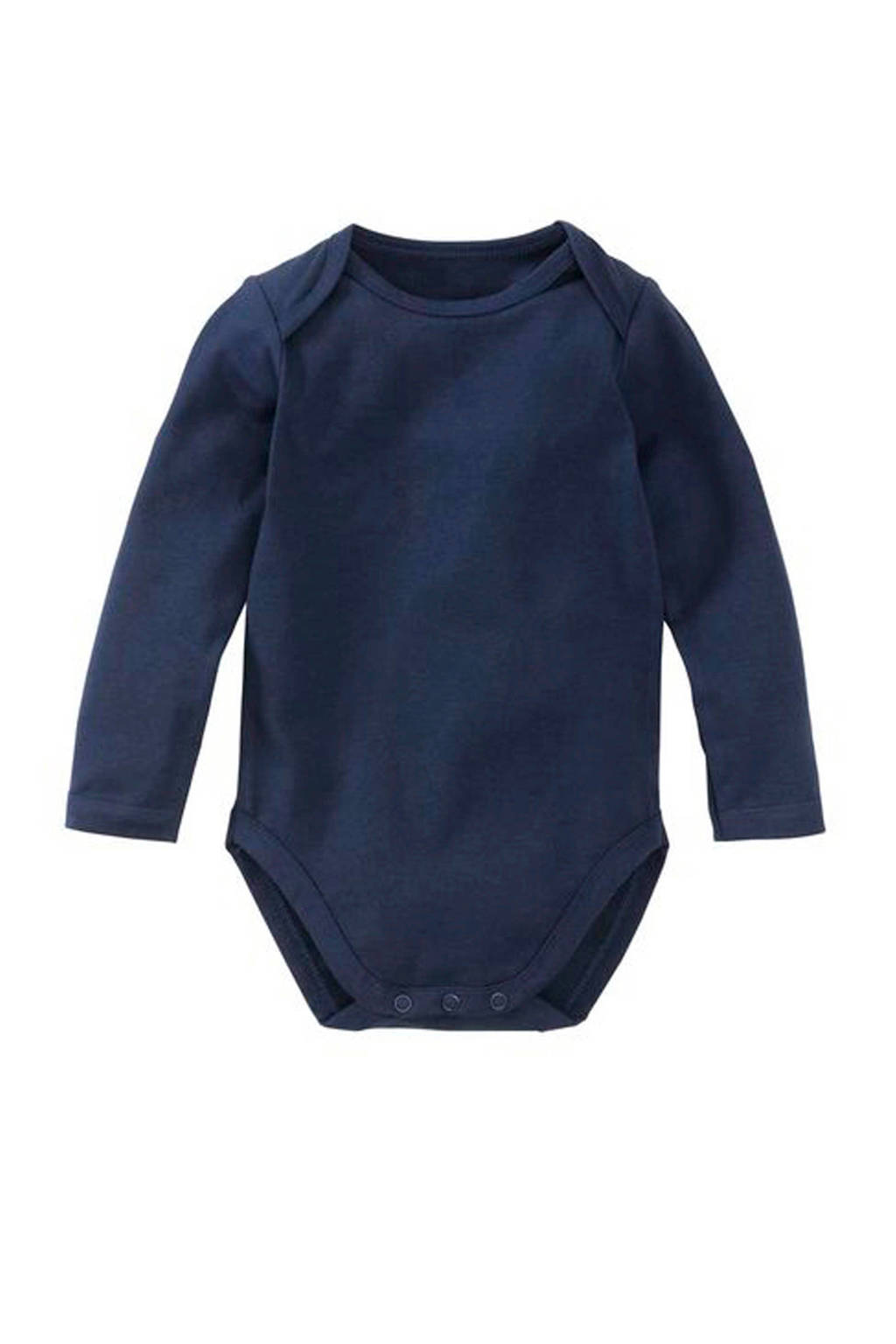 HEMA newborn baby romper donkerblauw, Donkerblauw, Lange mouw