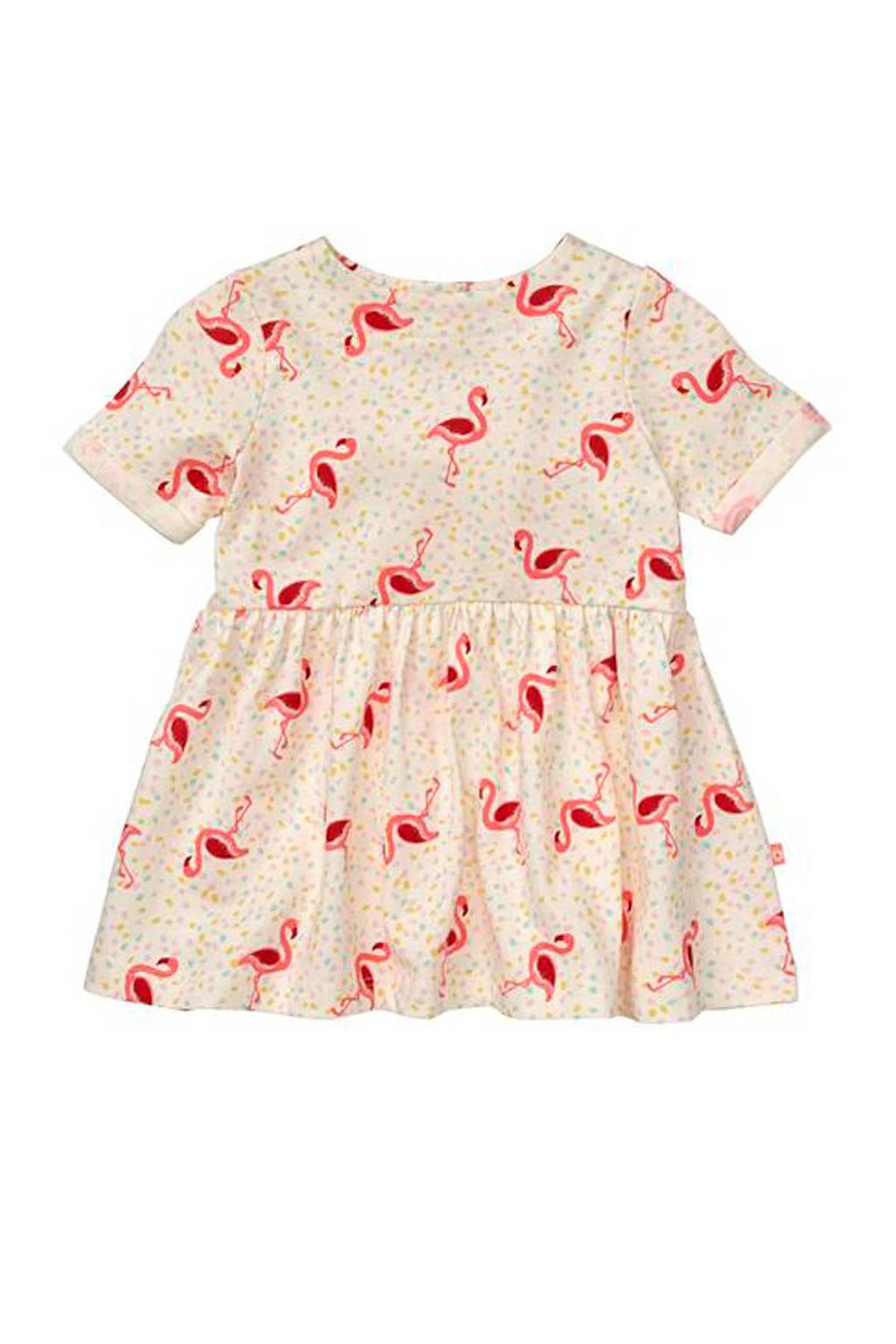 HEMA jurk met flamingo's ecru, Ecru