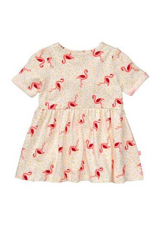 jurk met flamingo's ecru