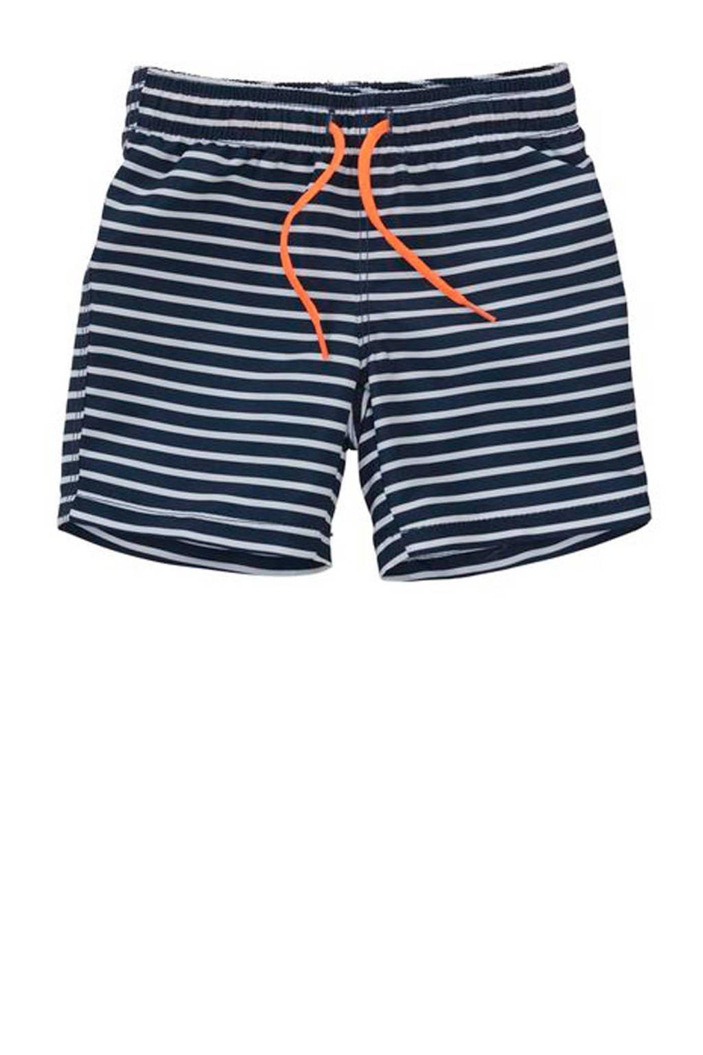 HEMA gestreepte zwemshort blauw, Donkerblauw/wit