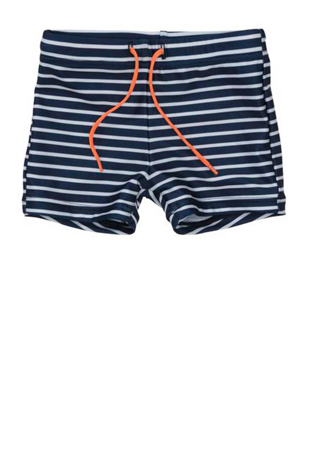 HEMA gestreepte zwemboxer blauw, Donkerblauw/wit