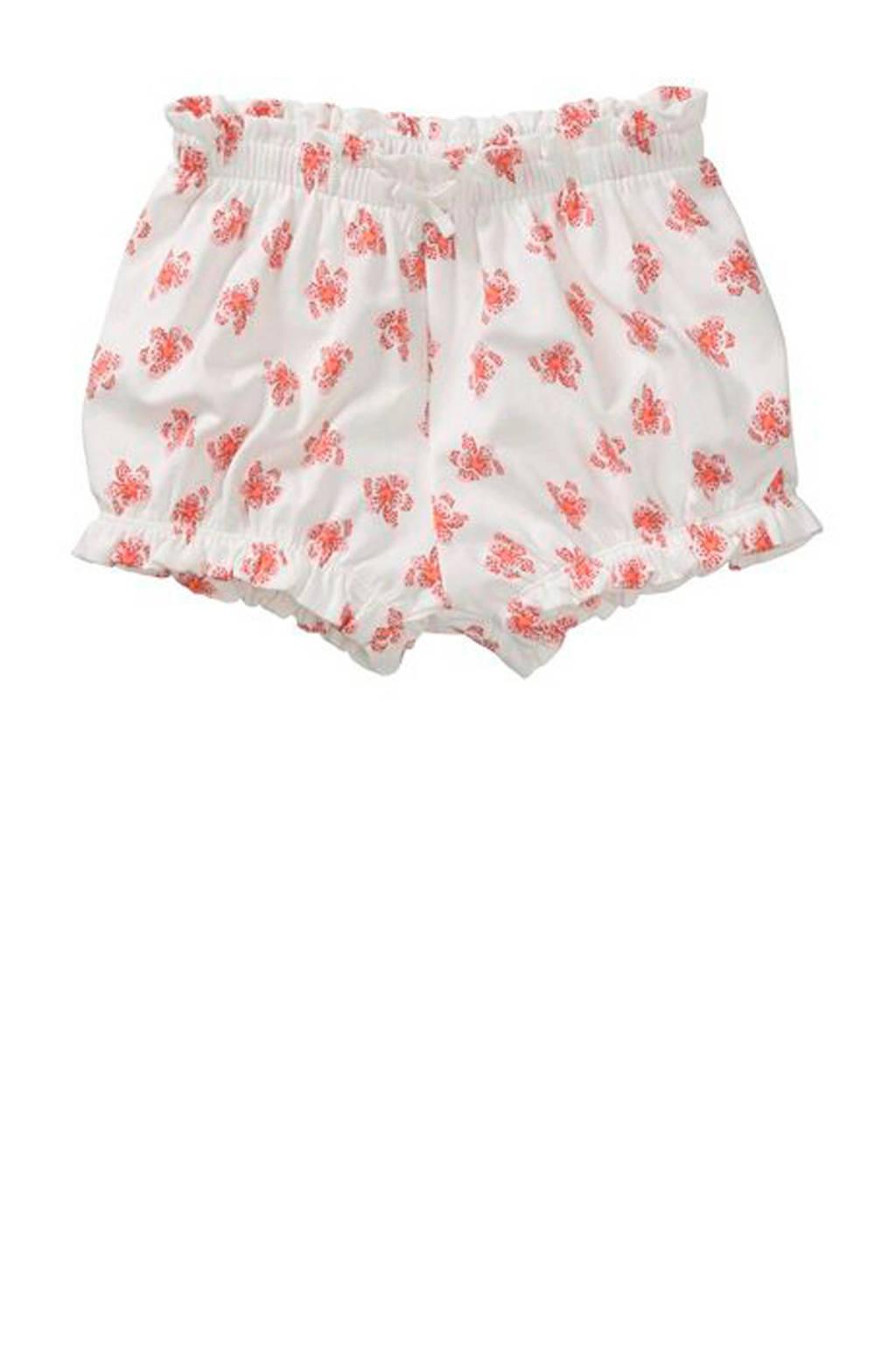 HEMA gebloemde sweatshort wit/roze, Wit/roze