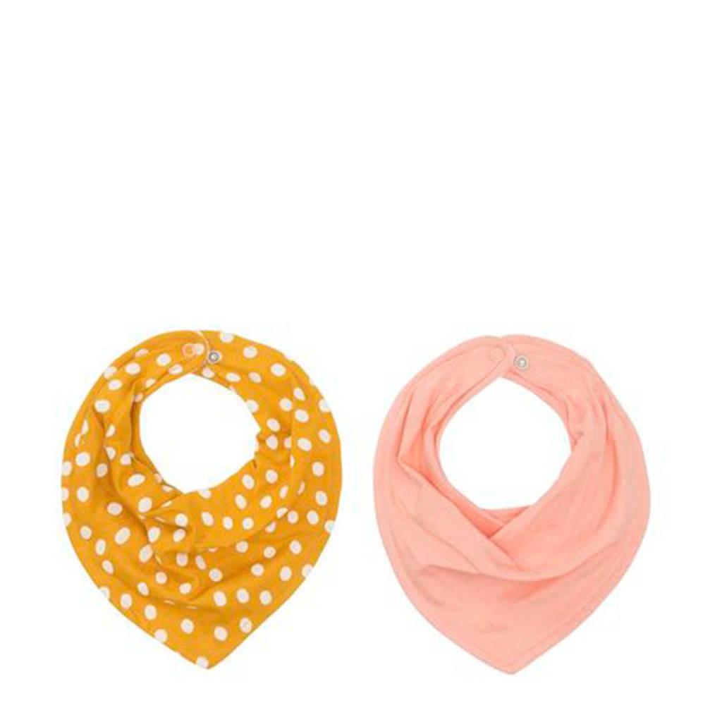 HEMA bandana slabbetjes roze/stip - set van 2, Oker