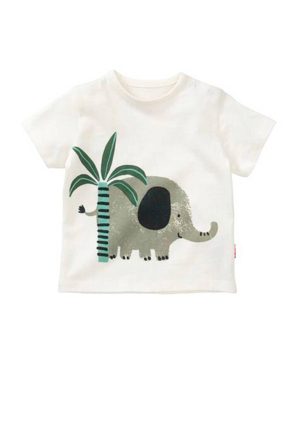 HEMA T-shirt met printopdruk wit, Wit
