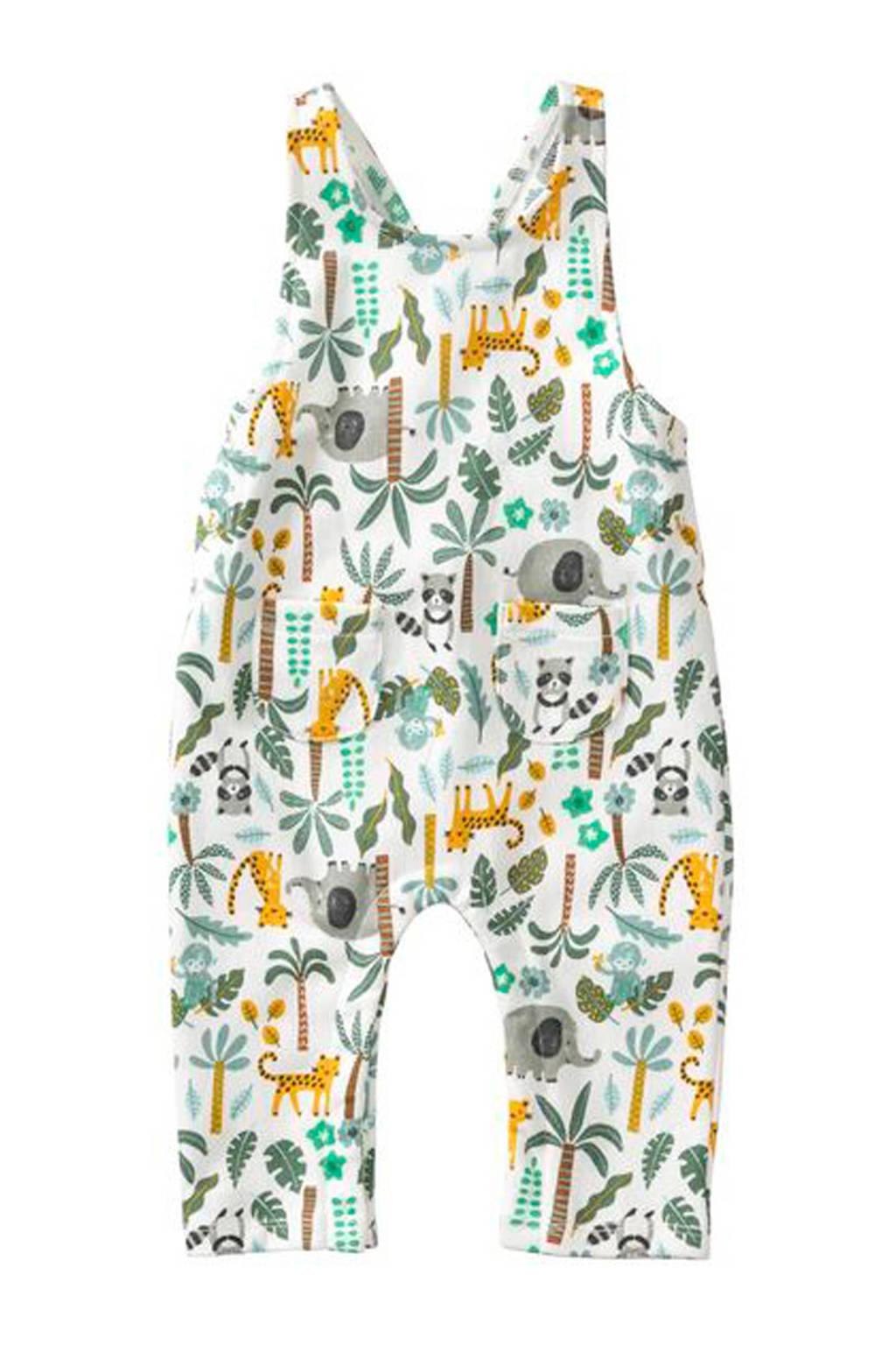 HEMA broek met all over print wit/groen, Wit/groen