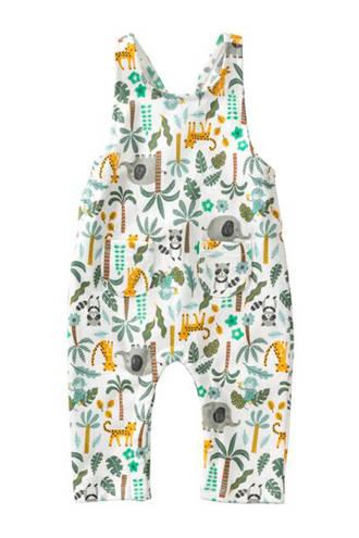 broek met all over print wit/groen