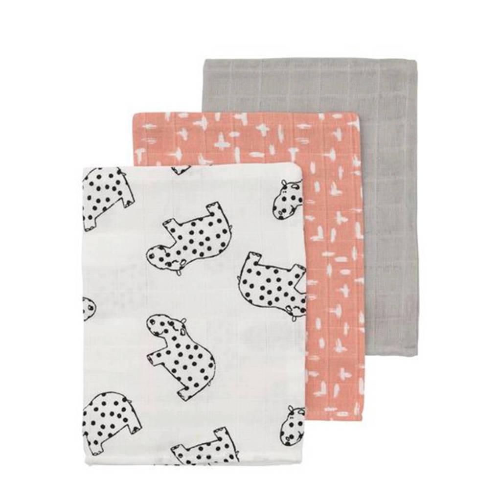 HEMA hydrofiele washandjes roze/grijs - set van 3, Roze/grijs/wit