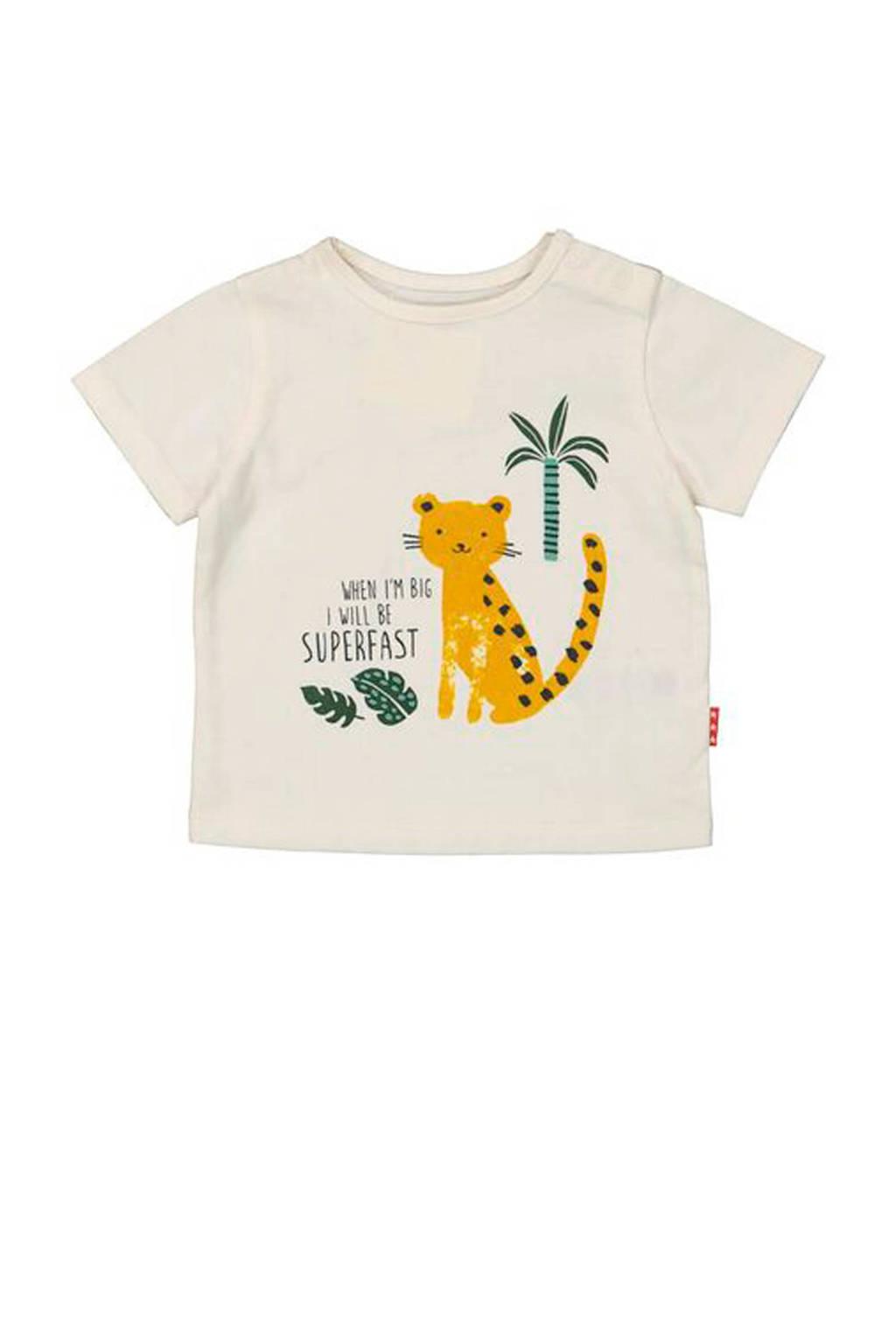 HEMA T-shirt met printopdruk ecru, Ecru