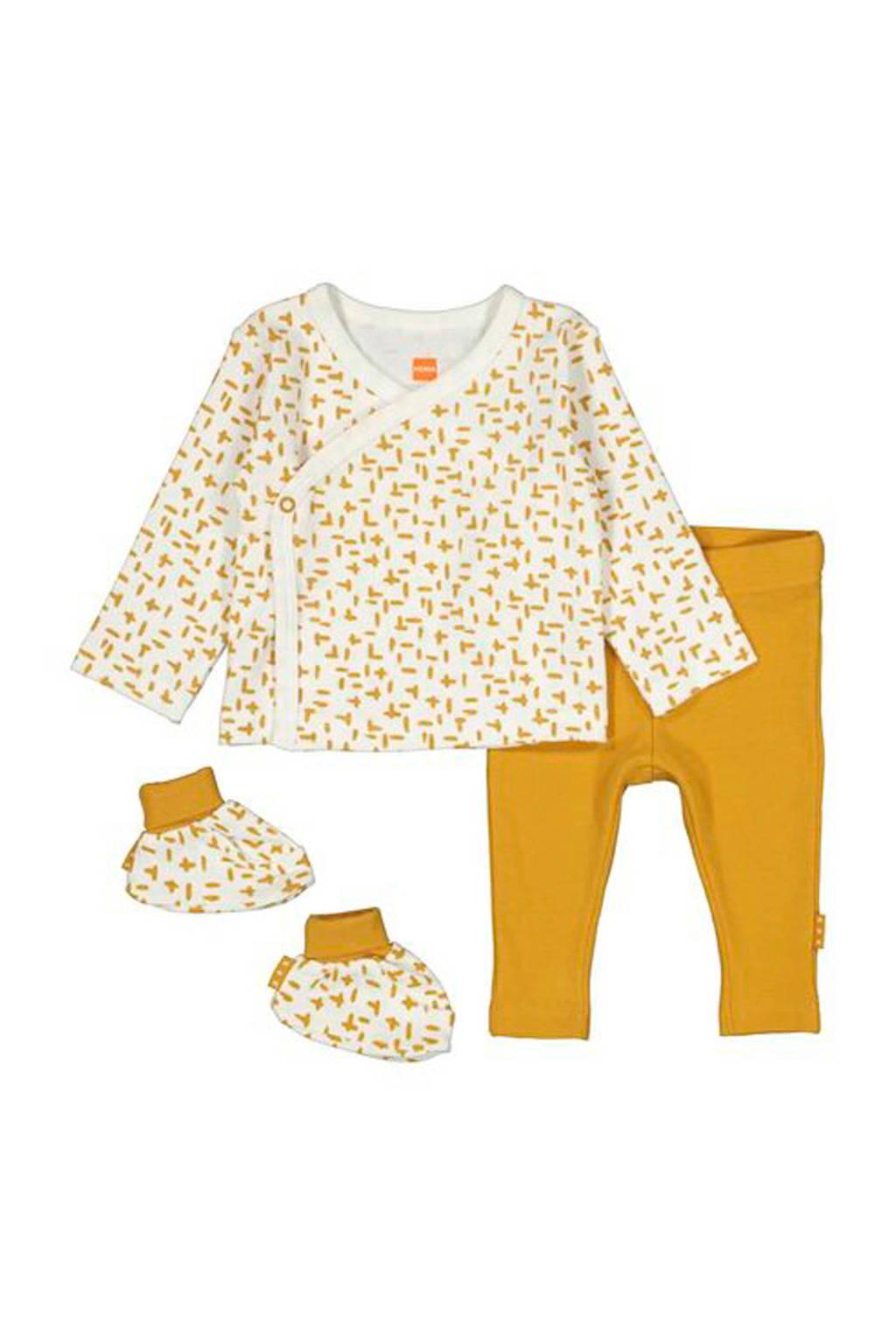 HEMA newborn overslagtop + broek + slofjes, Oker/wit