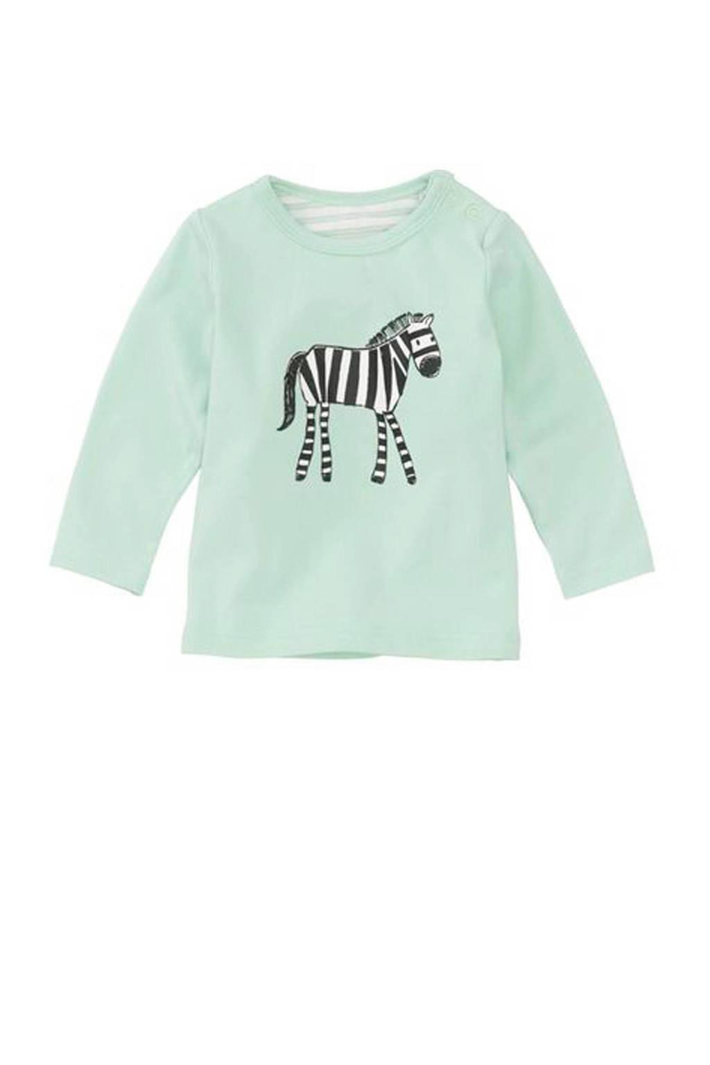 HEMA newborn baby t-shirt met zebra mintgroen, Mintgroen