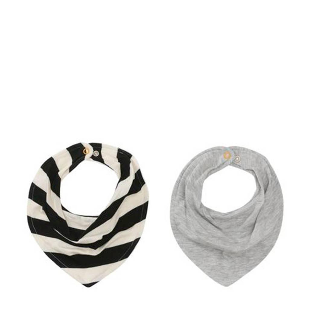 HEMA bandana slabbetjes grijs/streep - set van 2, Grijs/zwart/wit