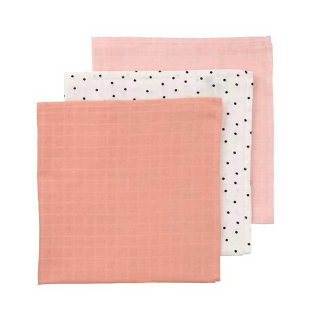 HEMA hydrofiele doeken 60x60 cm roze/stip - set van 3, Roze/wit/perzikroze