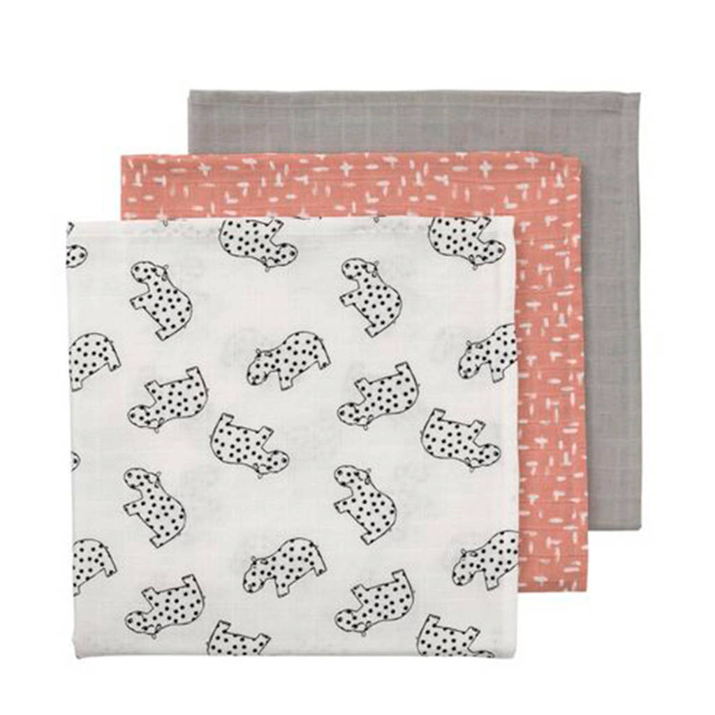 HEMA hydrofiele doeken 60x60 cm roze/grijs - set van 3, Roze/grijs/wit