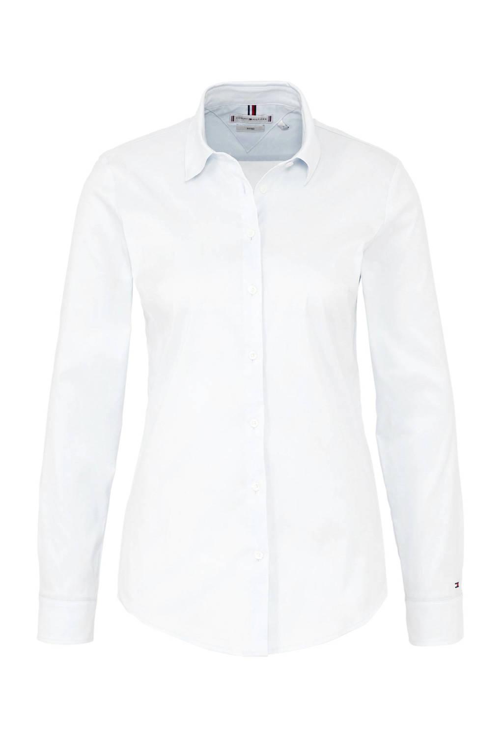Tommy Hilfiger slim fit blouse wit, Wit