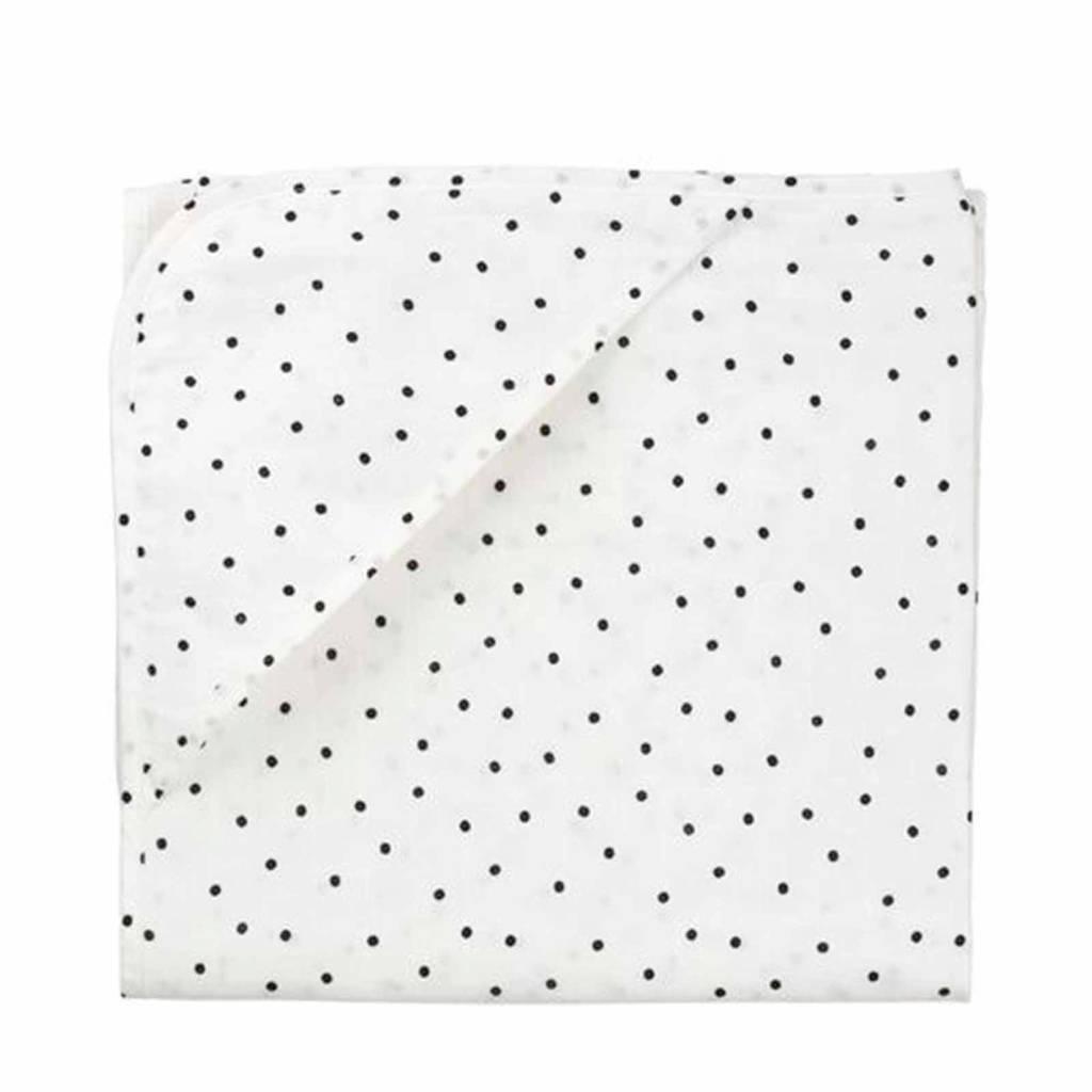 HEMA hydrofiele badcape 100x100 cm stip zwart/wit, Wit/zwart