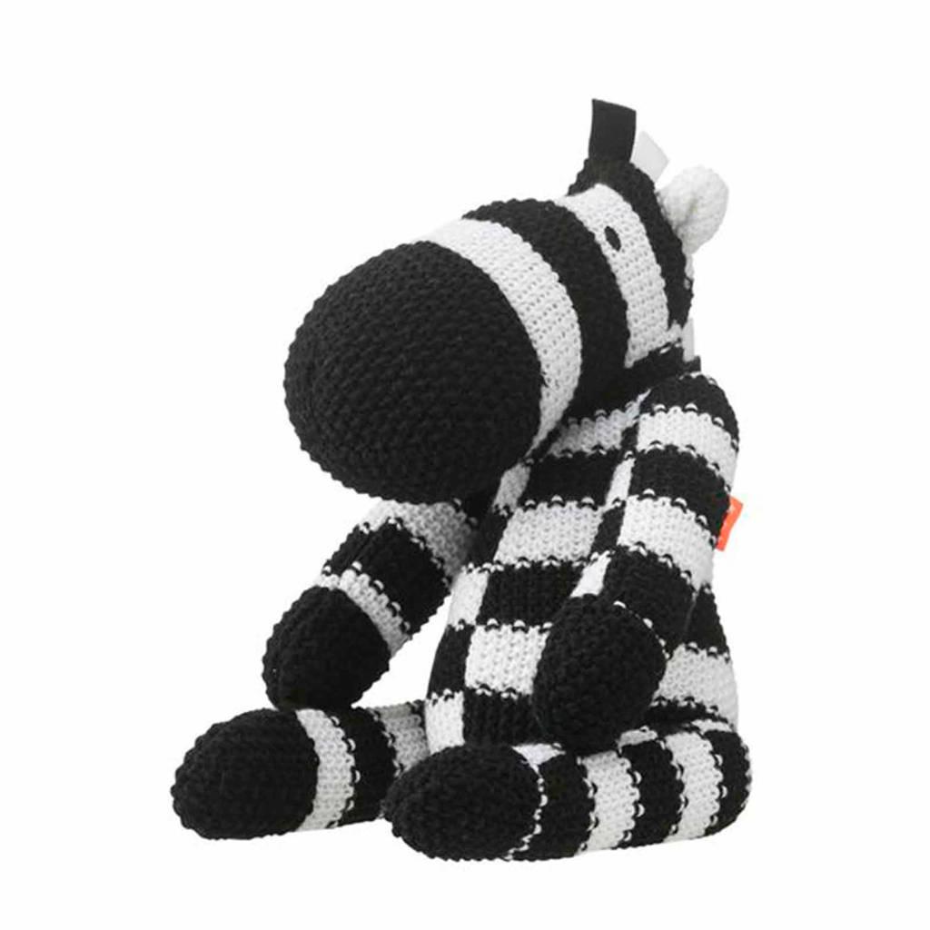 HEMA zebra knuffel 20 cm, Zwart/wit