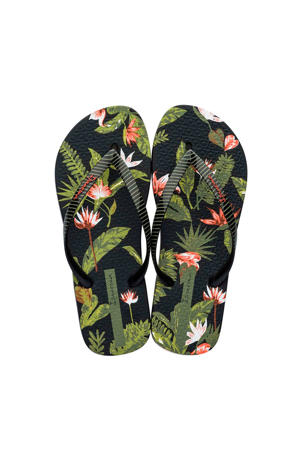 I Love Tropical teenslippers zwart/groen