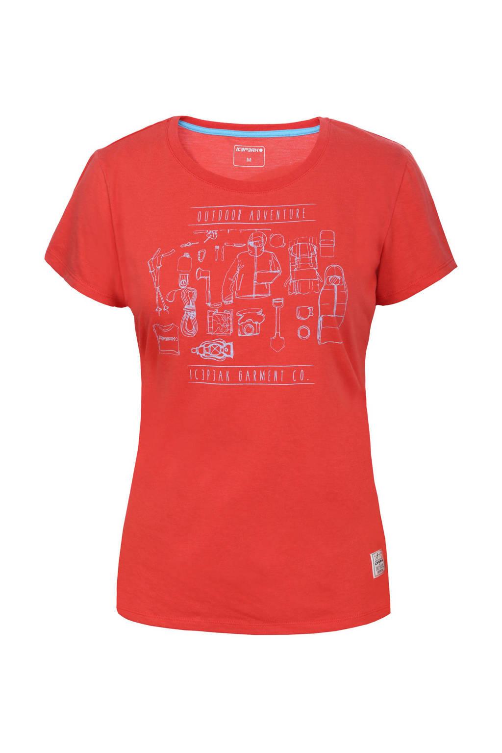 Icepeak outdoor T-shirt Stacy koraalrood, Koraalrood