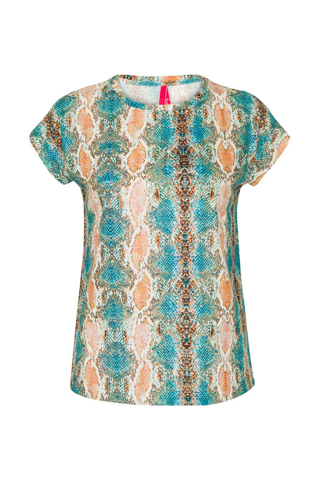 Miss Etam Regulier T-shirt met slangenprint blauw, Blauw