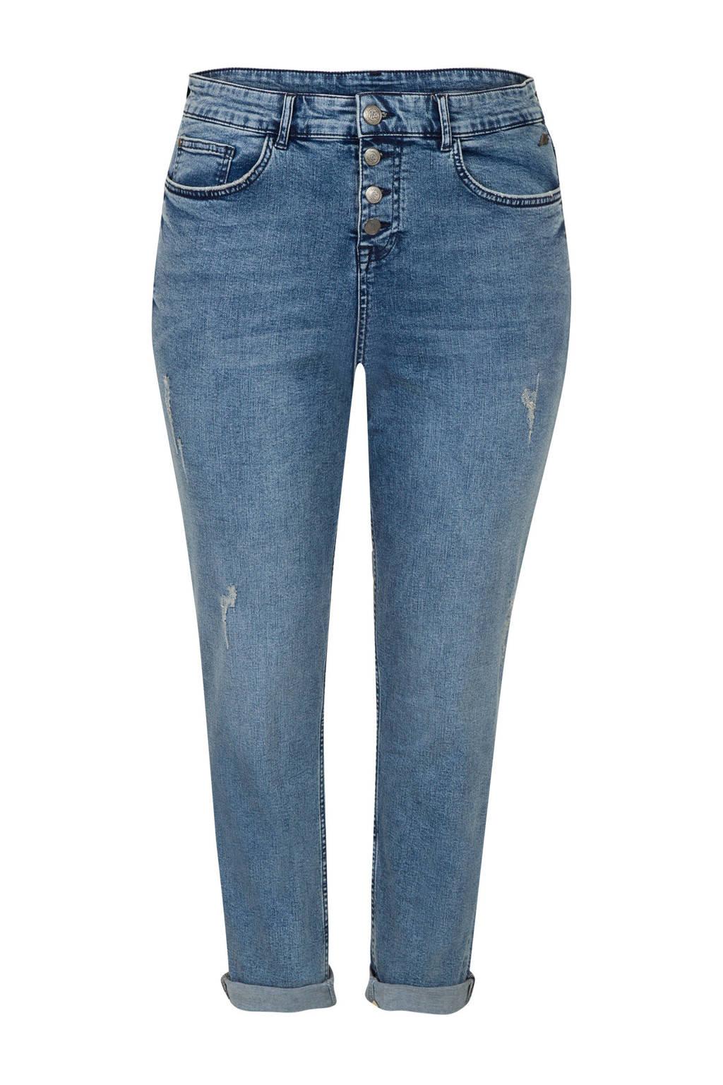 Miss Etam Plus cropped slim fit jeans met slijtage, Stonewashed