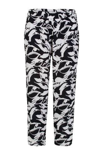 Plus loose fit broek met all over print zwart