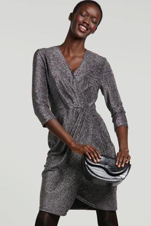 wikkel-look jurk met zilver lurex