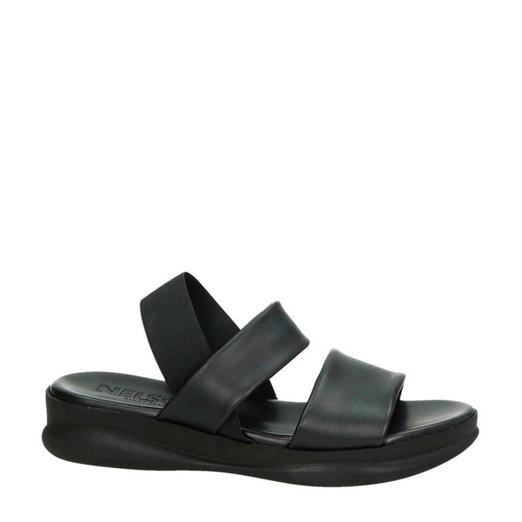 Nelson leren sandalen zwart, Zwart