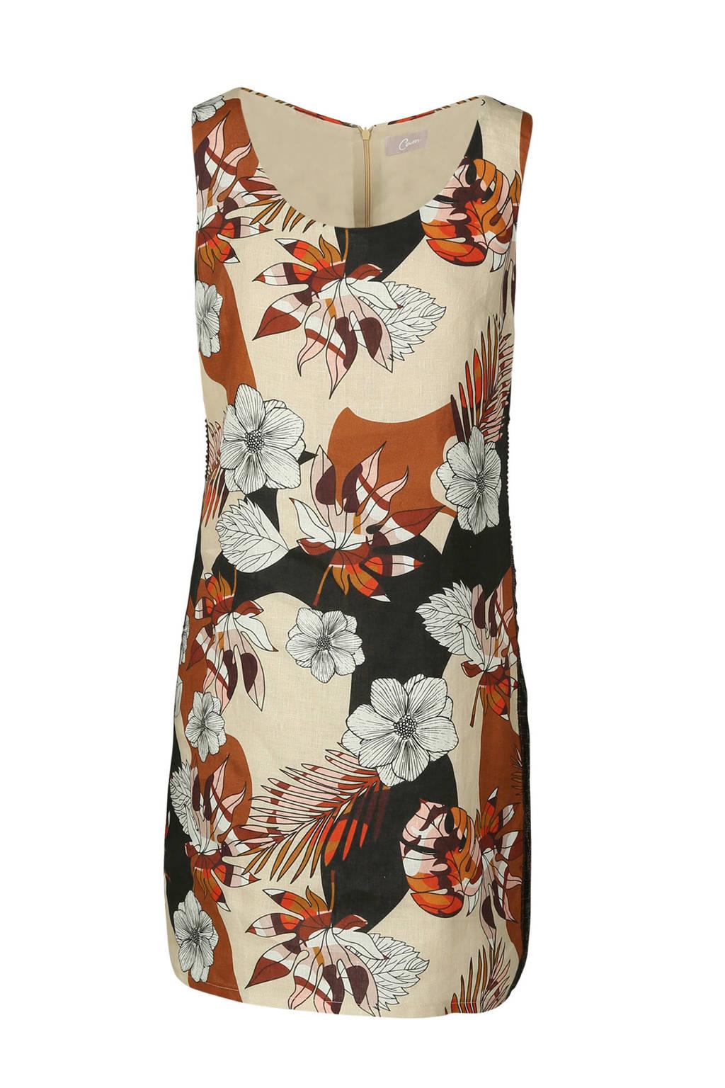 Cassis gebloemde linnen jurk bruin, Bruin