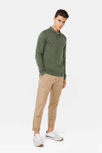 WE Fashion regular fit polo van biologisch katoen groen, Groen