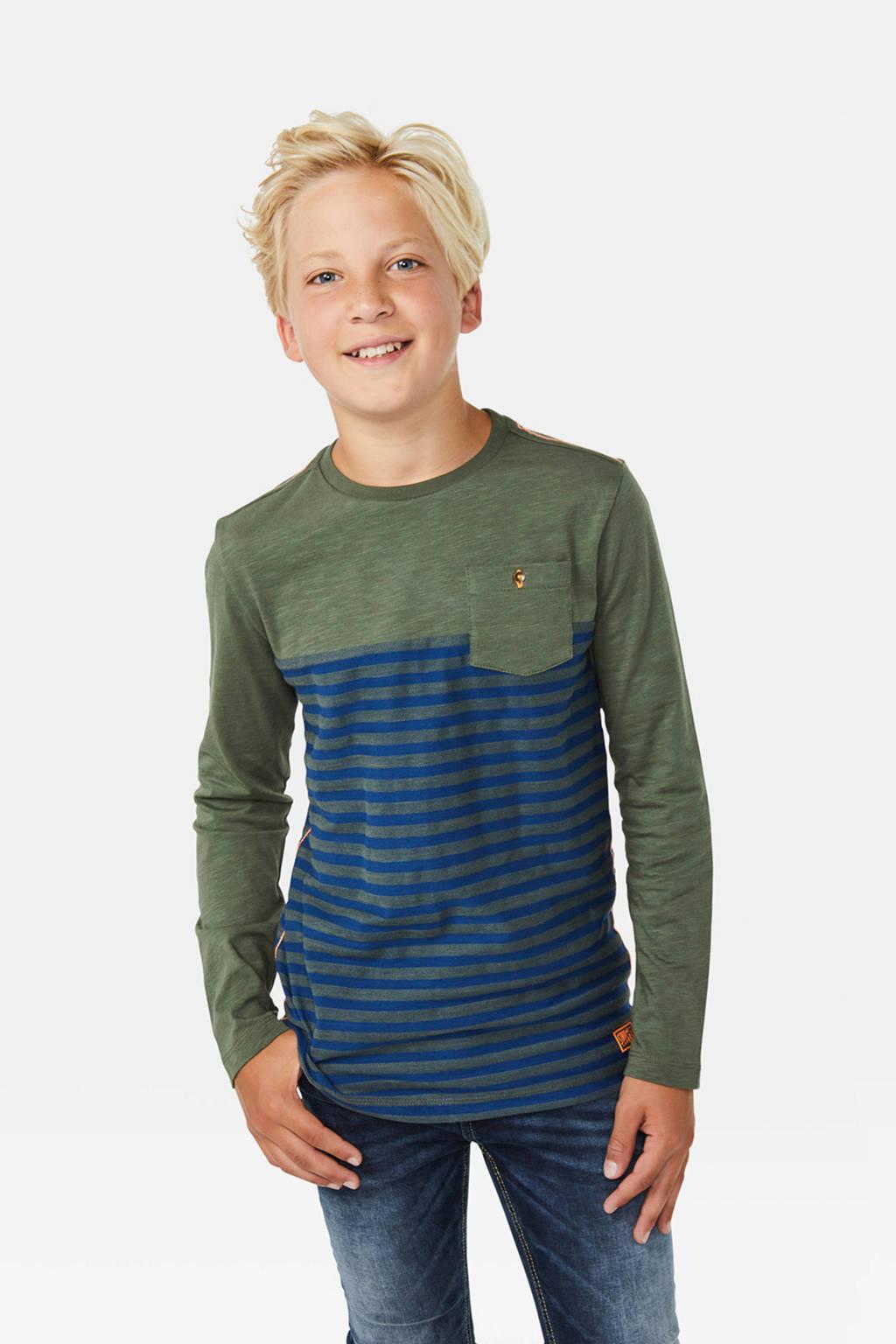 WE Fashion gestreepte longsleeve groen/blauw, Groen/blauw