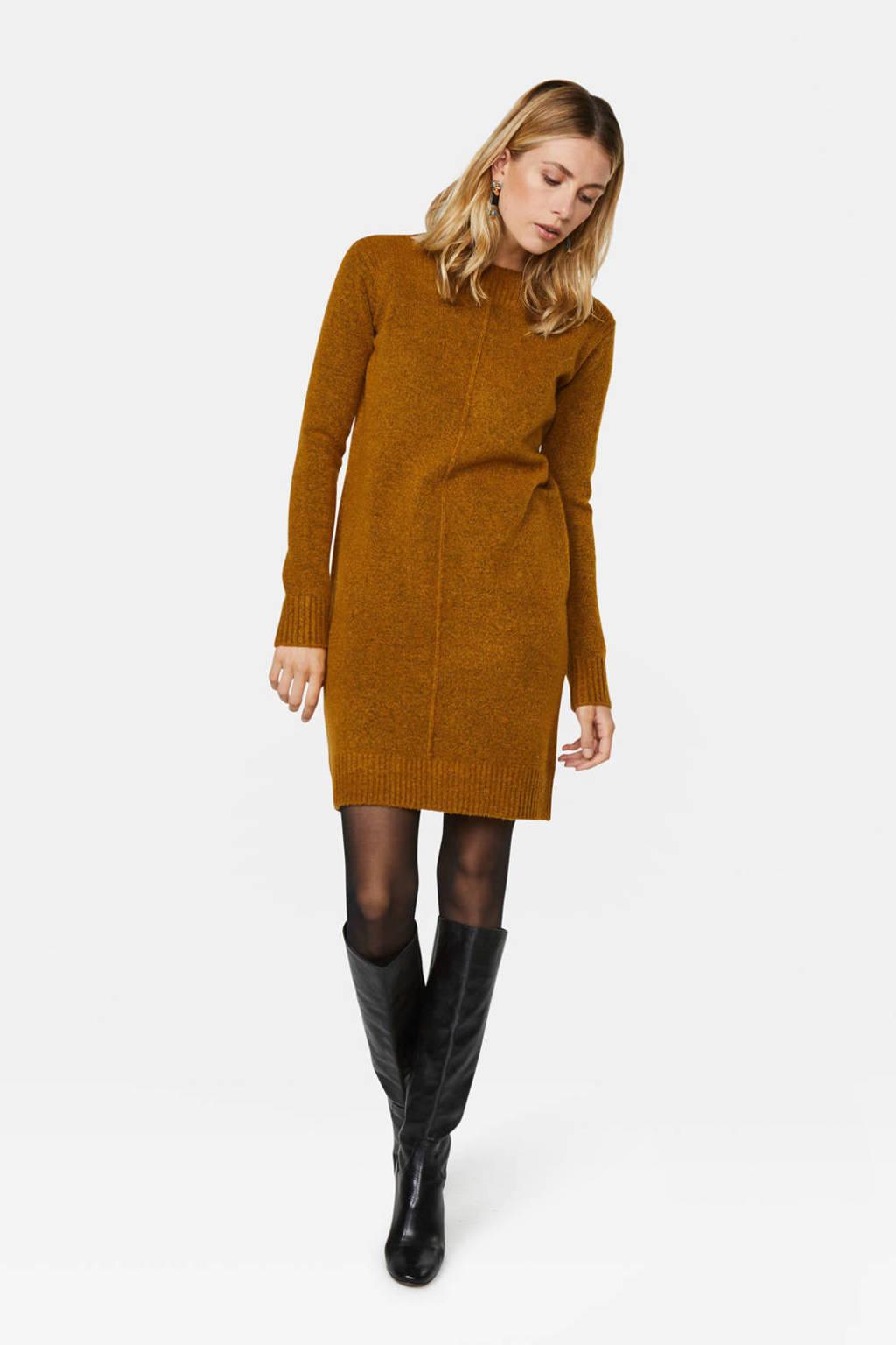 WE Fashion gemêleerde jurk bruin, Bruin