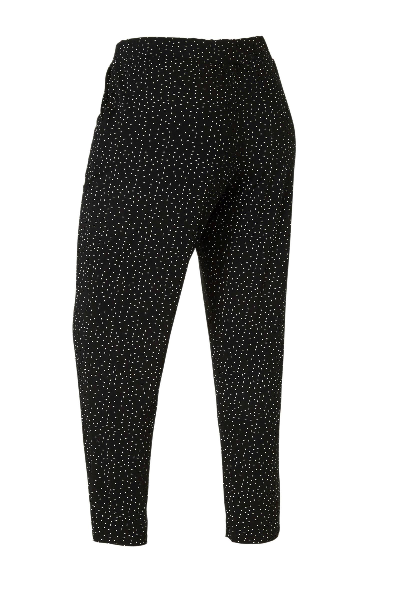 1fc9ba90016 palazzo broek met stippen zwart/wit