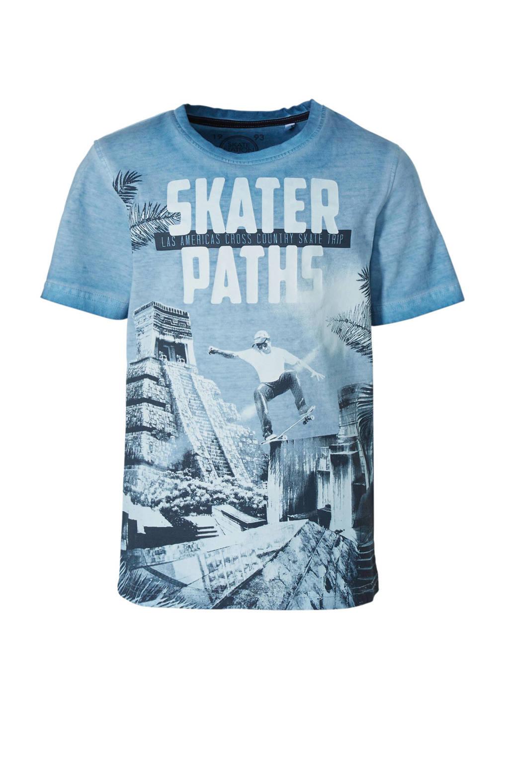 C&A Here & There T-shirt met printopdruk blauw, Blauw/zwart