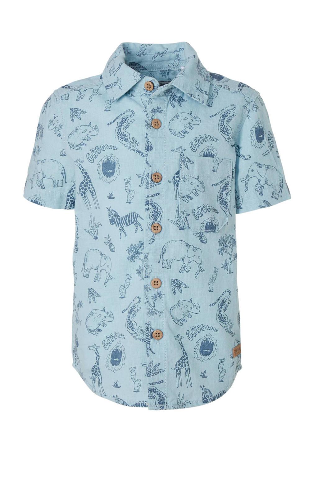 C&A Palomino overhemd met linnen en all over print, Blauw