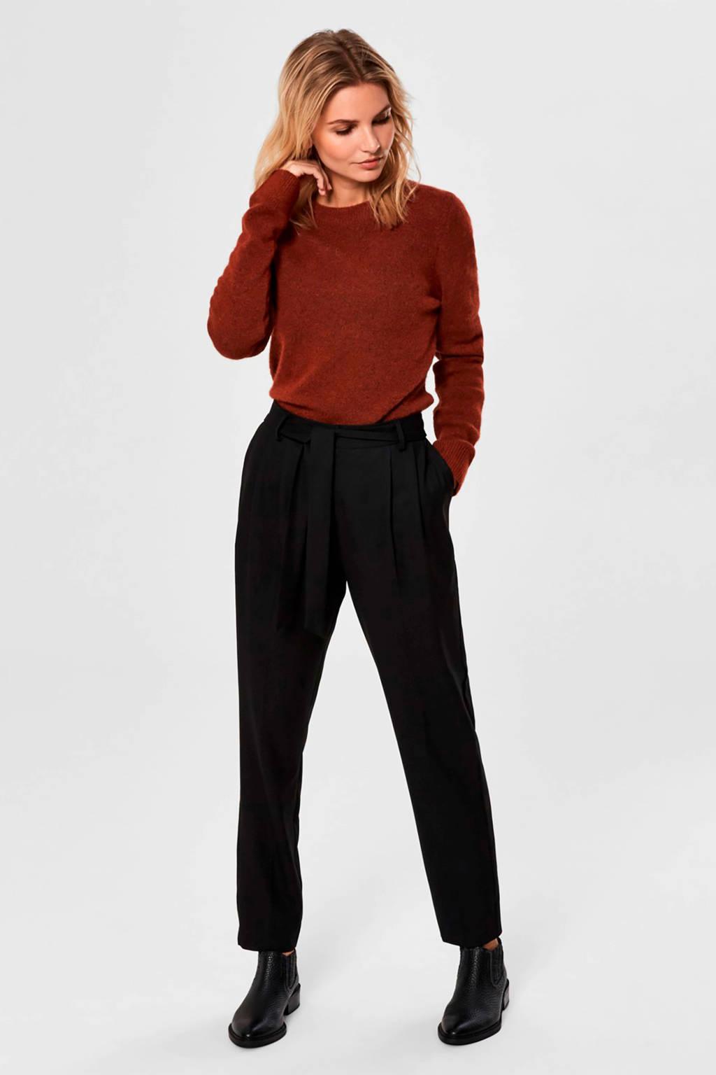 SELECTED FEMME tapered fit broek zwart, Zwart