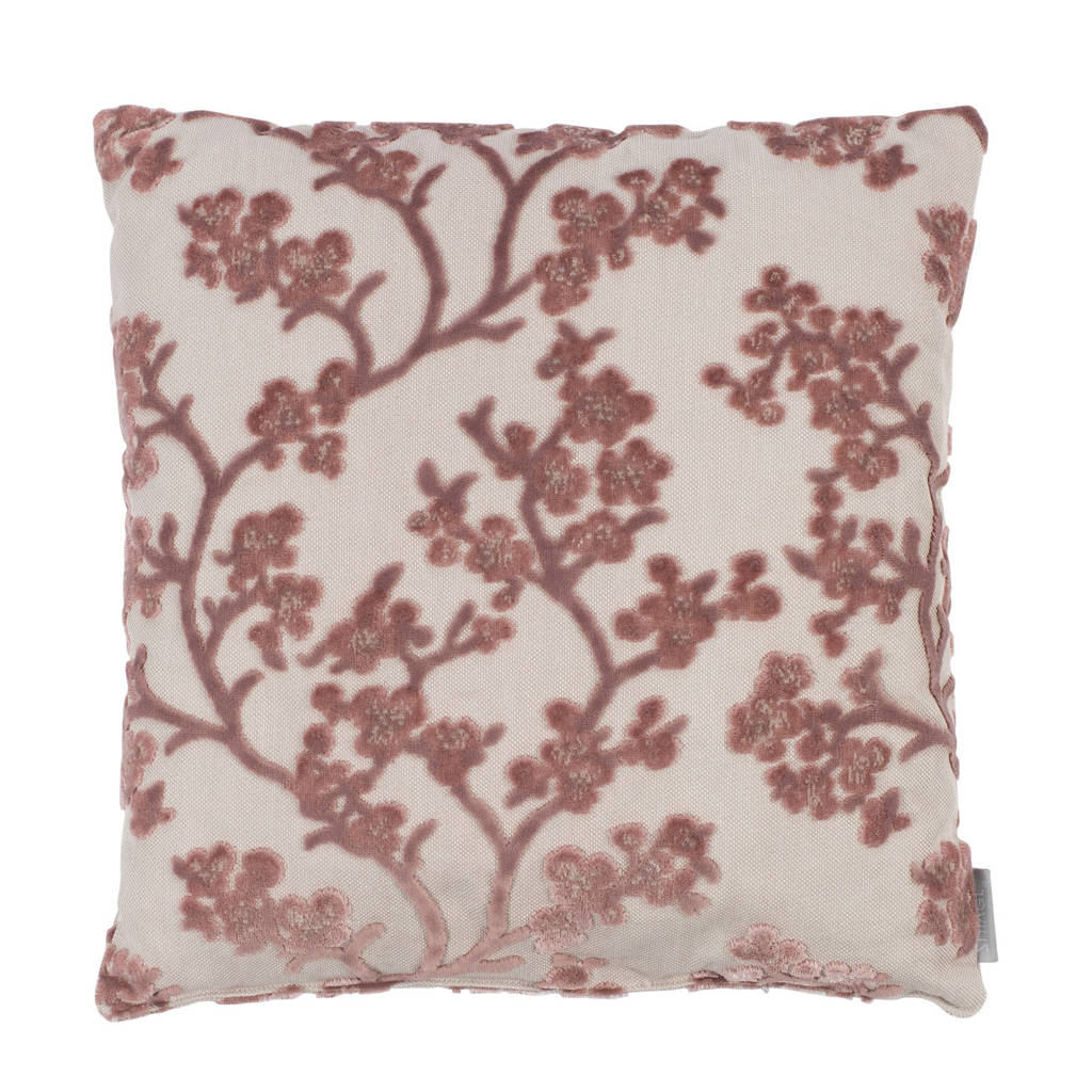 Zuiver sierkussen April Rose (45x45 cm), Wit, roze