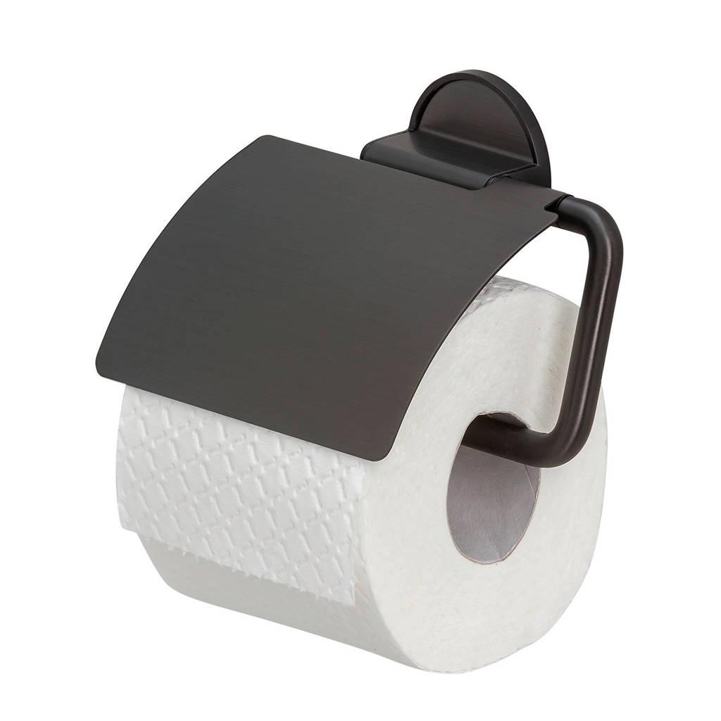 Tiger Tune Toiletrolhouder met klep  Zwart metaal geborsteld / Zwart