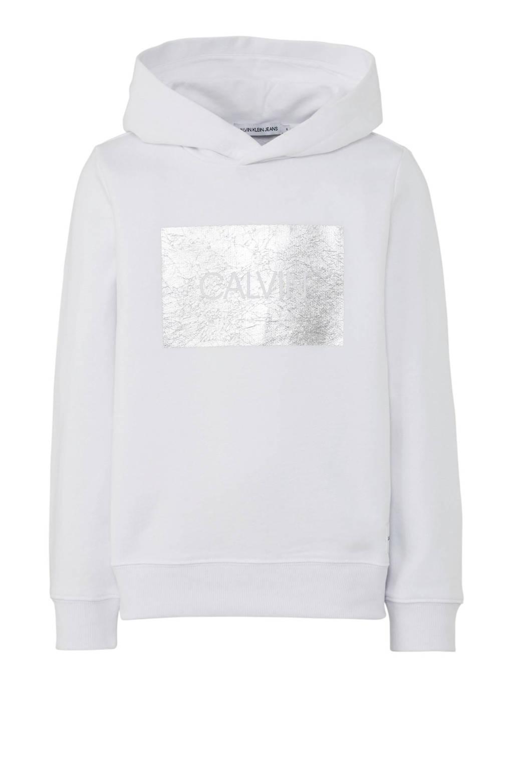 CALVIN KLEIN JEANS hoodie met zilveren logo wit, Wit