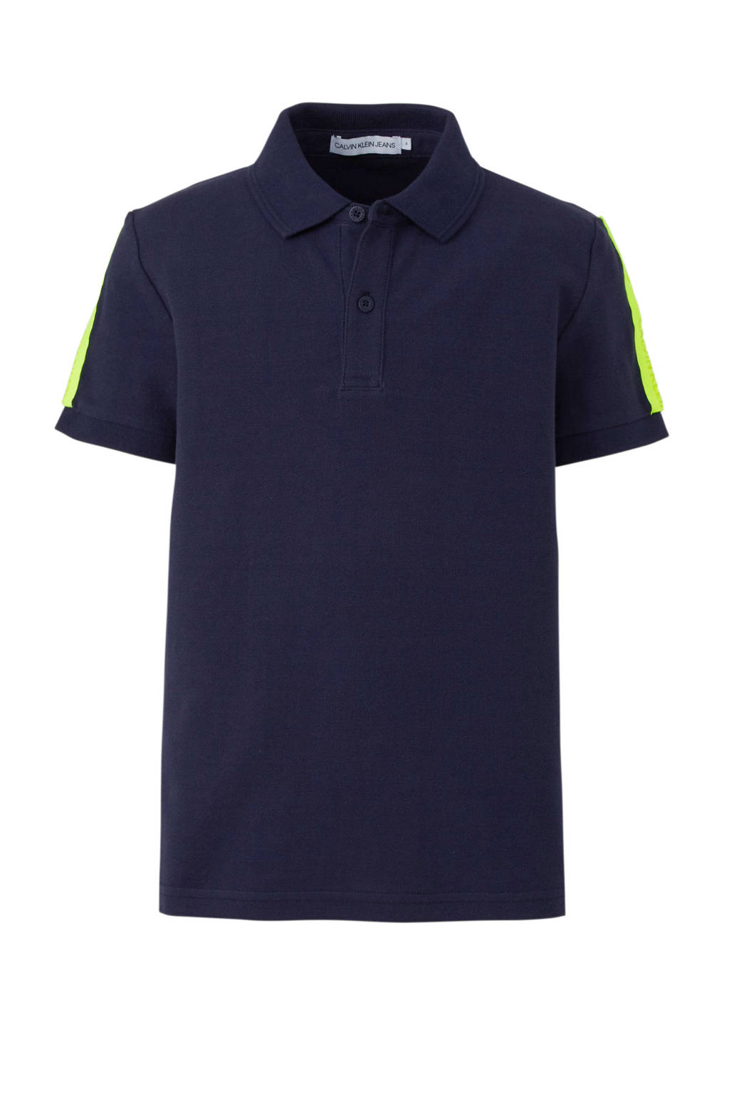 CALVIN KLEIN JEANS polo met contrastbies donkerblauw, Donkerblauw/geel