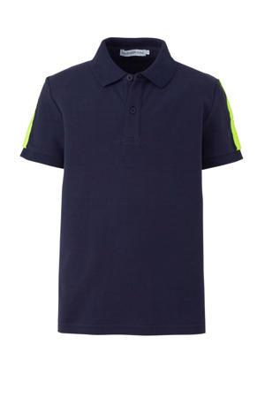 polo met contrastbies donkerblauw