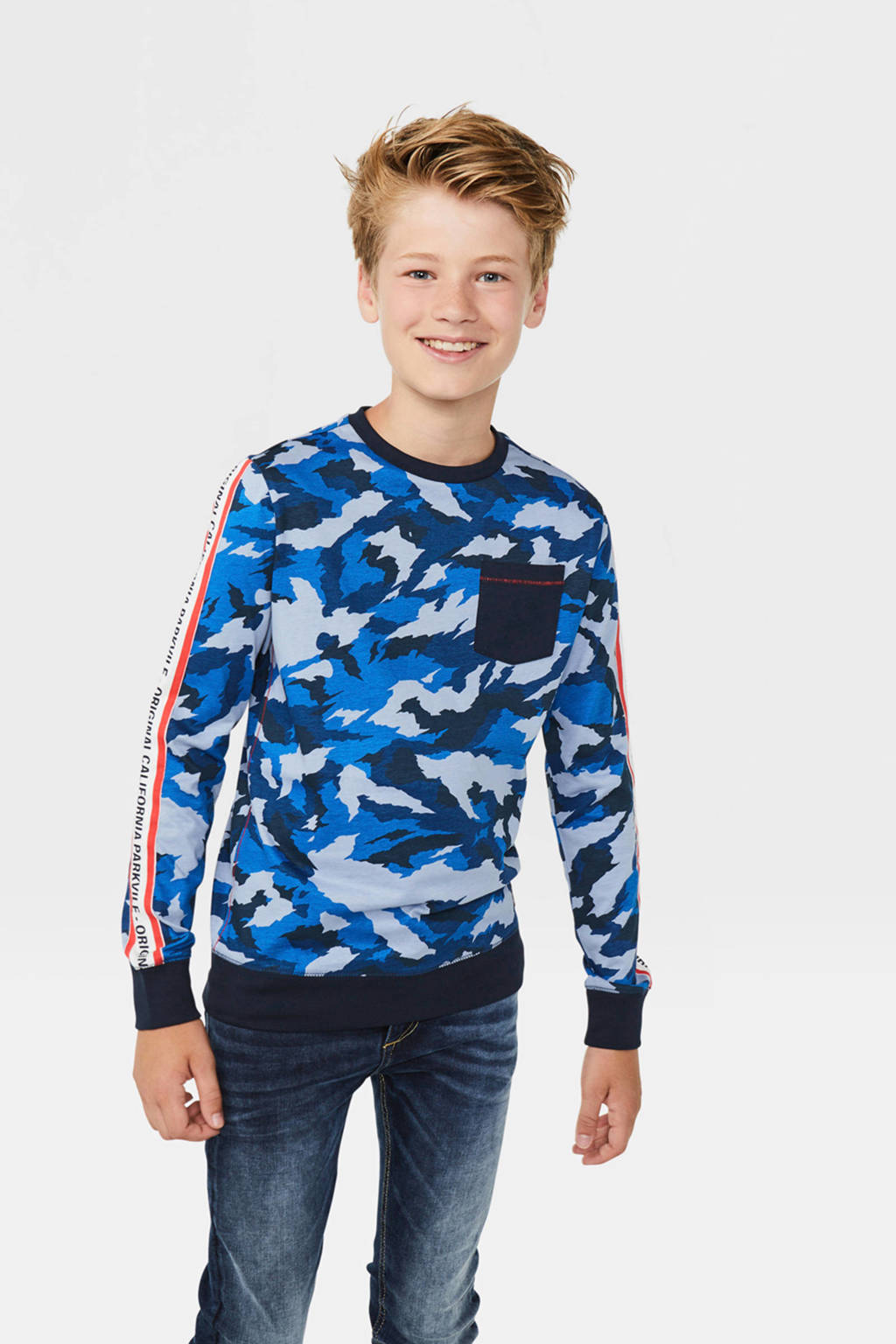 WE Fashion longsleeve met contrastbies blauw/donkerblauw, Blauw/donkerblauw