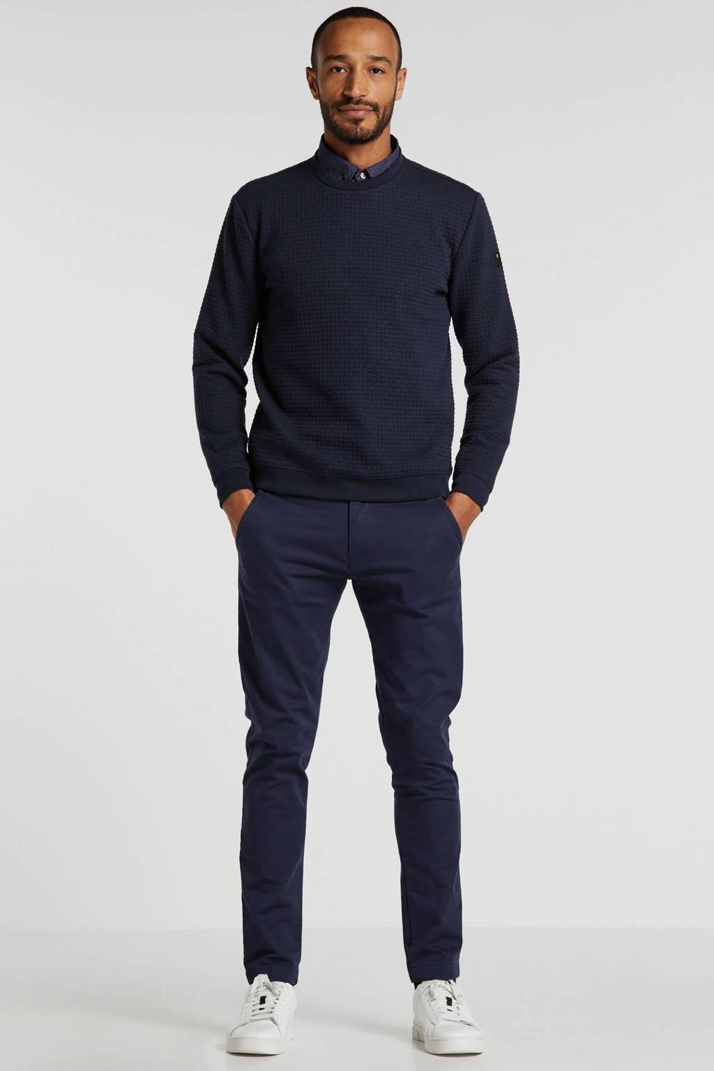 No Excess sweater met textuur marine, Marine