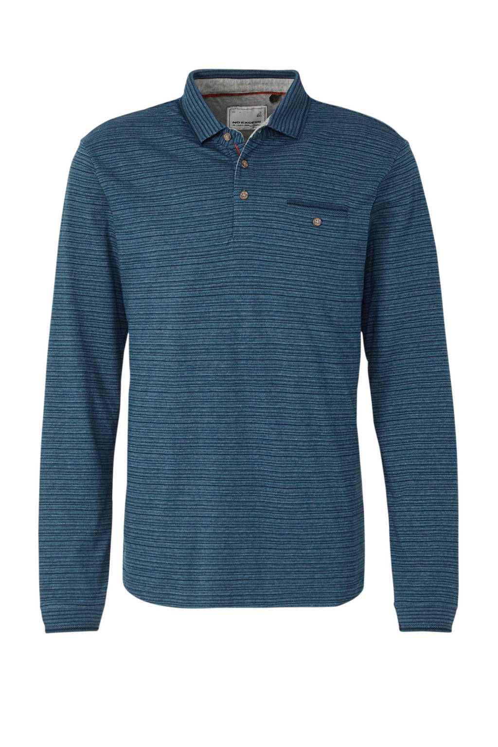 No Excess gestreepte regular fit polo donkerblauw, Donkerblauw