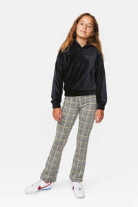WE Fashion velours hoodie met borduursels zwart, Zwart
