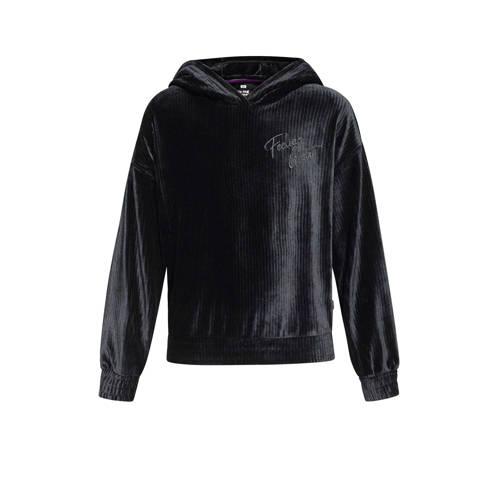 WE Fashion velours hoodie met borduursels zwart