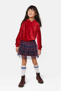WE Fashion velours hoodie met borduursels rood, Rood