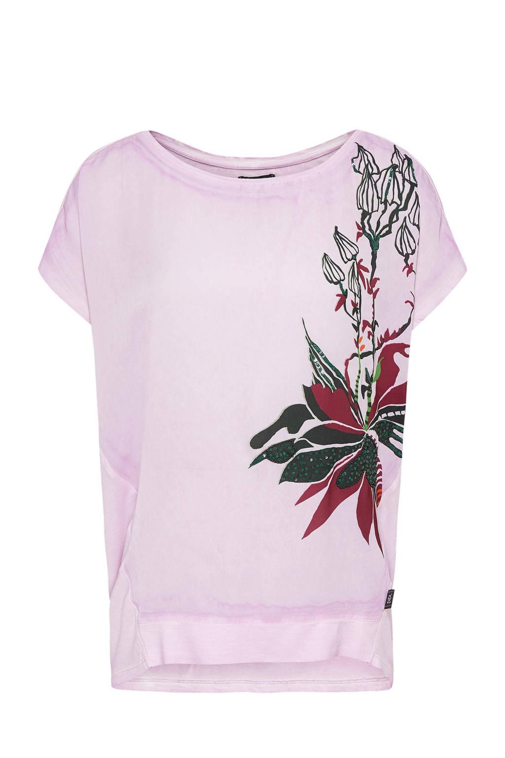 Didi T-shirt met bloemenprint lila, Lila