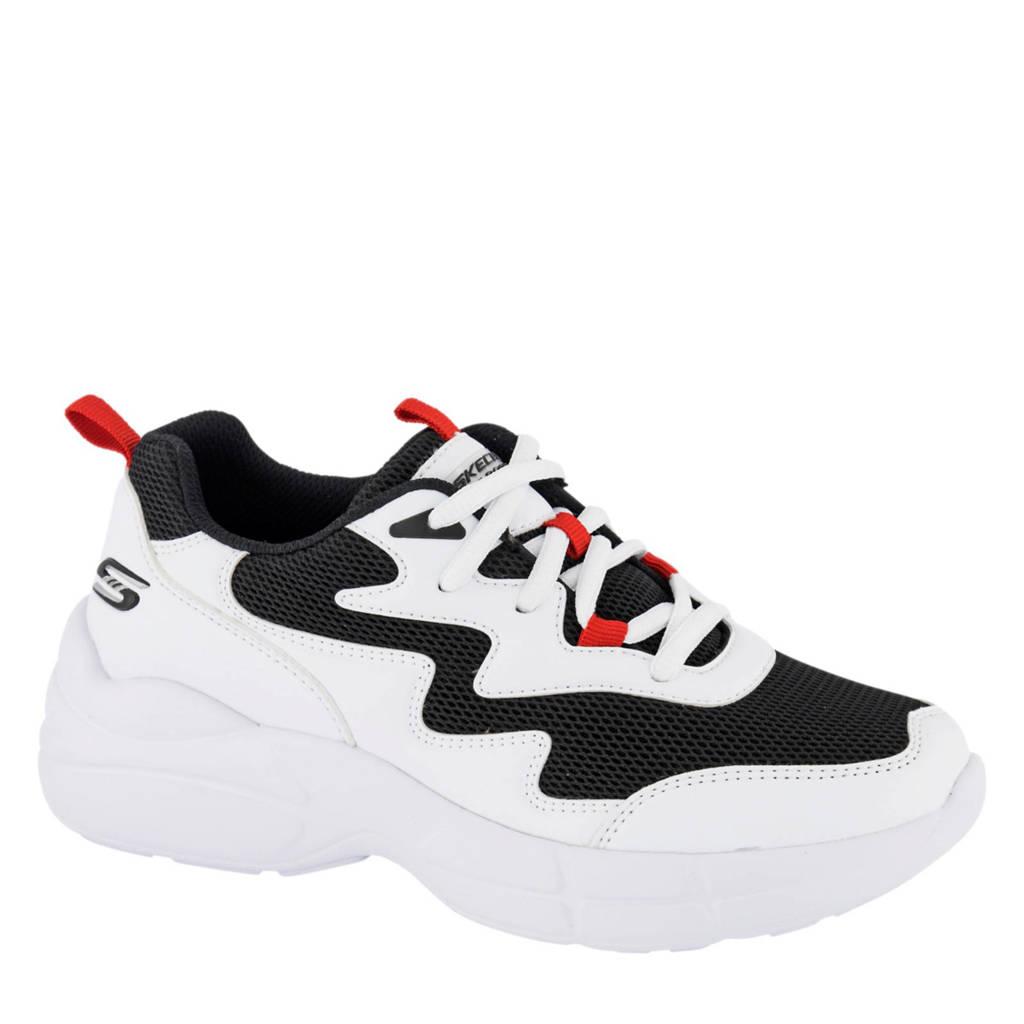 Skechers  chunky dad sneakers wit/zwart, Zwart/wit/rood