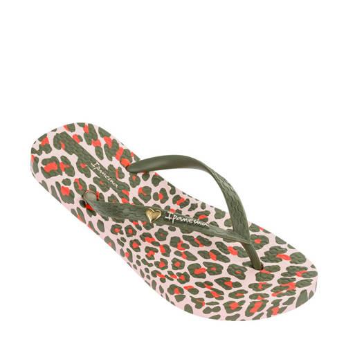 Ipanema teenslippers met luipaardprint groen