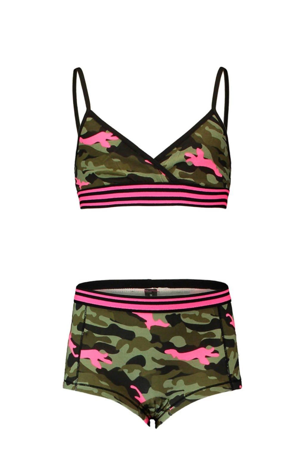 CoolCat bh-top + short, kaki/roze